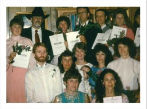 1st Graduating Class in America March 1991 Back row: Marita Zachrisson, Charles Ersdal, Tonya Gomman-Swan, Bob Personnette, Jan Johanson, Sherry (last name unknown), Unknown Middle Row: Hans Nordblom, Katri Nordblom, Robin Foline, Joshua Goman (Tonya's son) Mary Jo Morgan, Julie Holdregger Front row: Inbrit Stein, Bernadette Jagiello